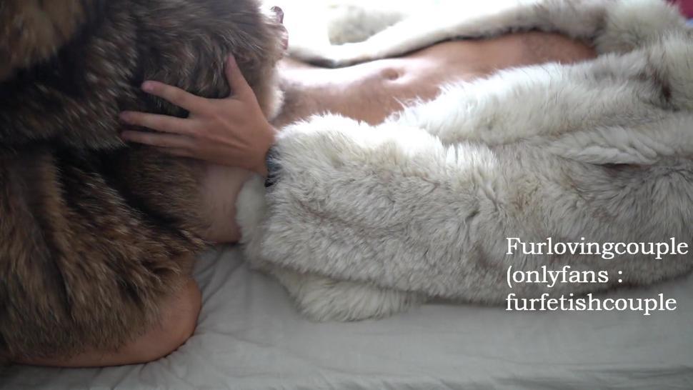Furjob in white fox fur and raccoon fur coat