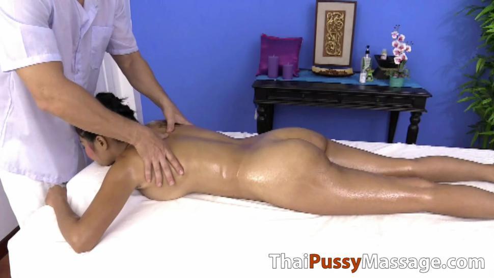 THAI PUSSY MASSAGE - Naturally busty Thai slut gets a deep tissue massage
