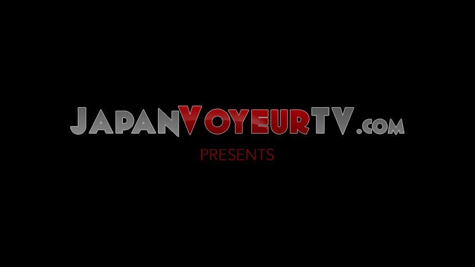 JAPAN VOYEUR TV - Japanese cutie in knee highs teasing her juicy clit