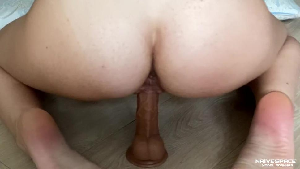 Caught her having sex and fucked her in anal. Cum on my chest. Lots of cum