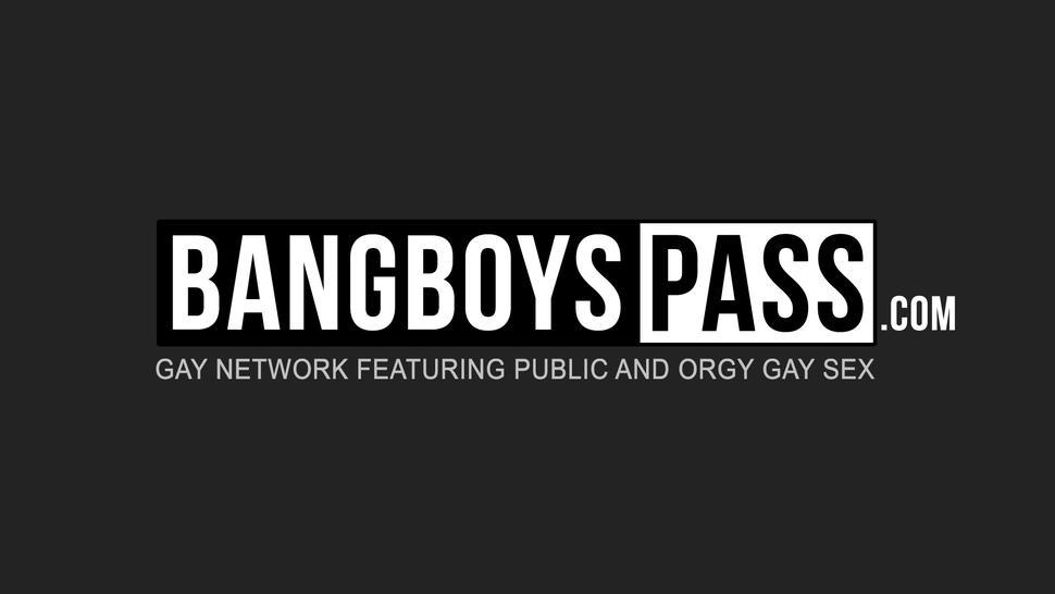 BANG BOYS PASS - Young hunk with massive cock barebacking an old dude hard