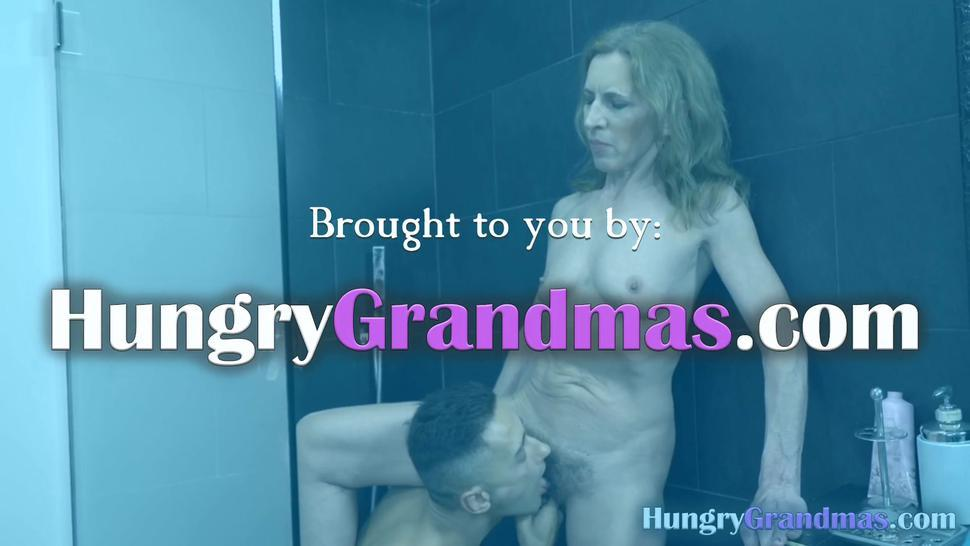 Skinny GILF with hairy cunt fucked real hard