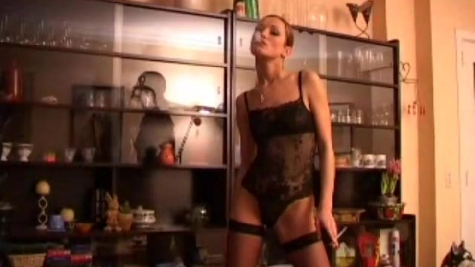 So-cute girl , in thigh-high boots + hold-ups , smoking sexily : Part 1