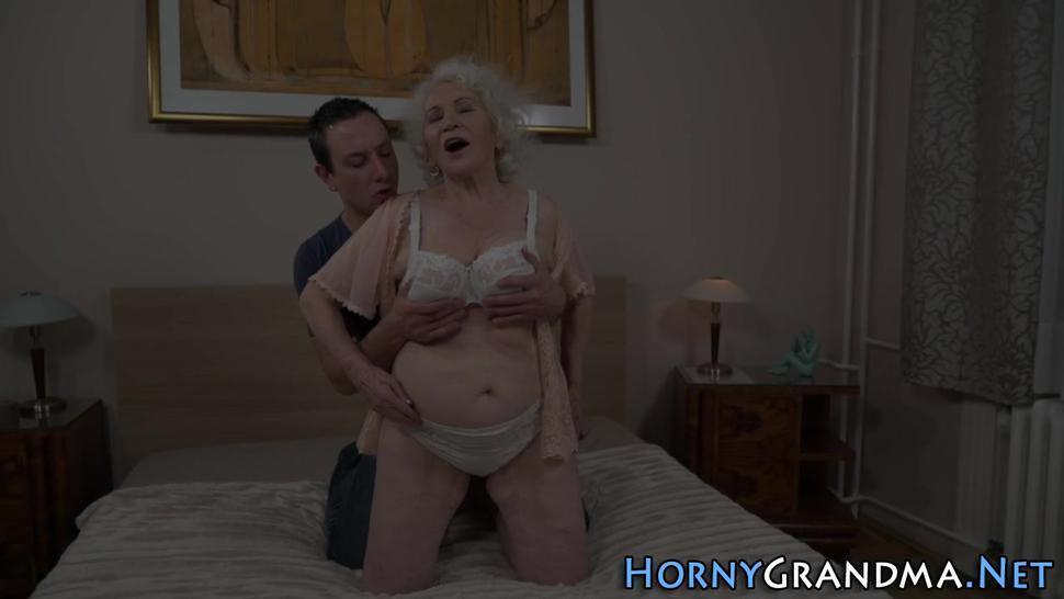 Busty old granny has her hairy pussy smashed