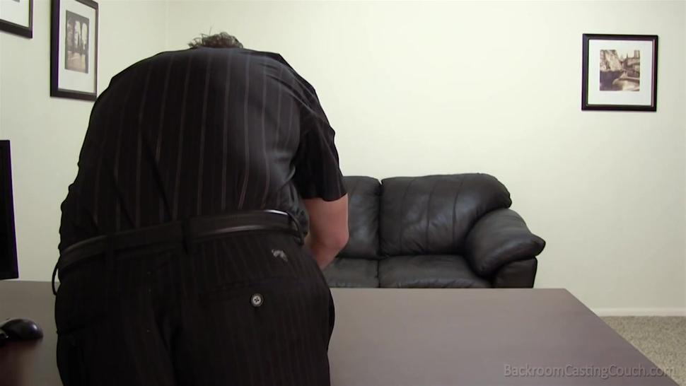 Young blonde in glasses has her first porn casting