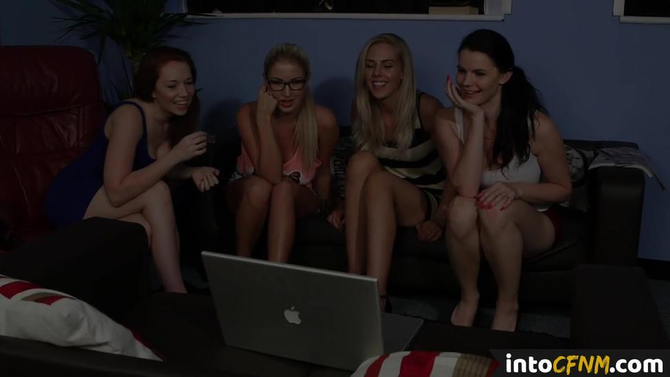 PURE CFNM - CFNM group femdom sucking off lucky dude