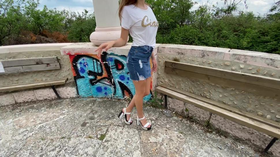 Public screw for a skinny teen in denim skirt with no panties in white high heels
