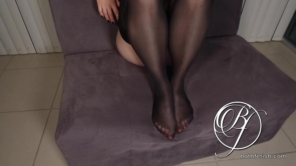 just pantyhose and a garter belt, all my sexy feet need is your dick between my sexy feet