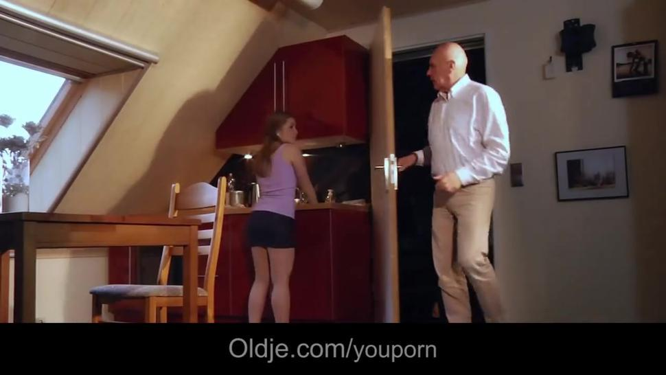 Bald bussines oldman fucks his young spoiled gf
