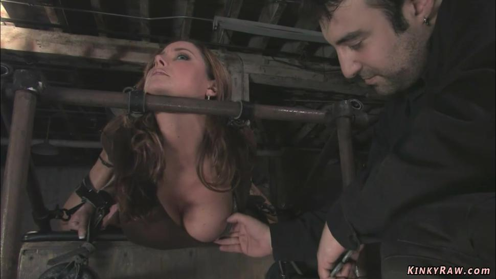 Bound busty MILF gets whipped