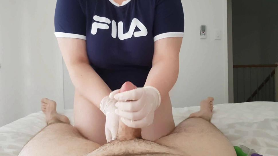 Chubby Asian girl massages my dick with her vibrator and gloves until I cant hold back