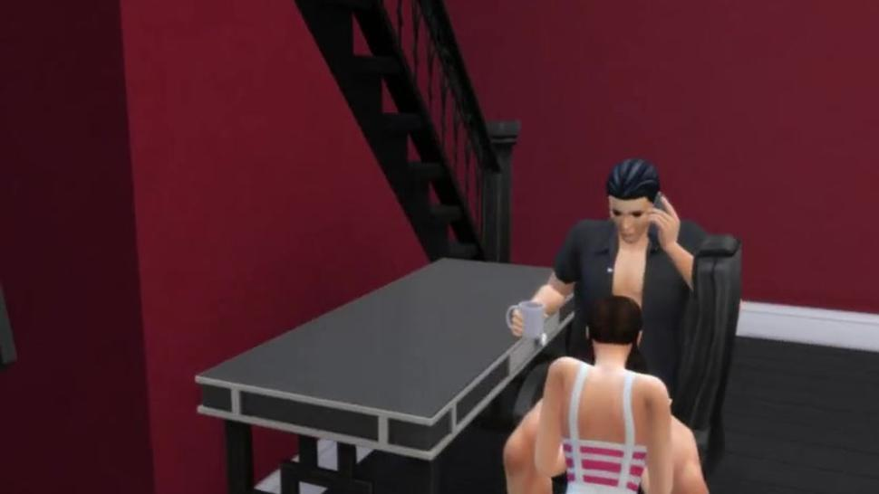 Sims 4: on phone while Daughter in law sucks dick