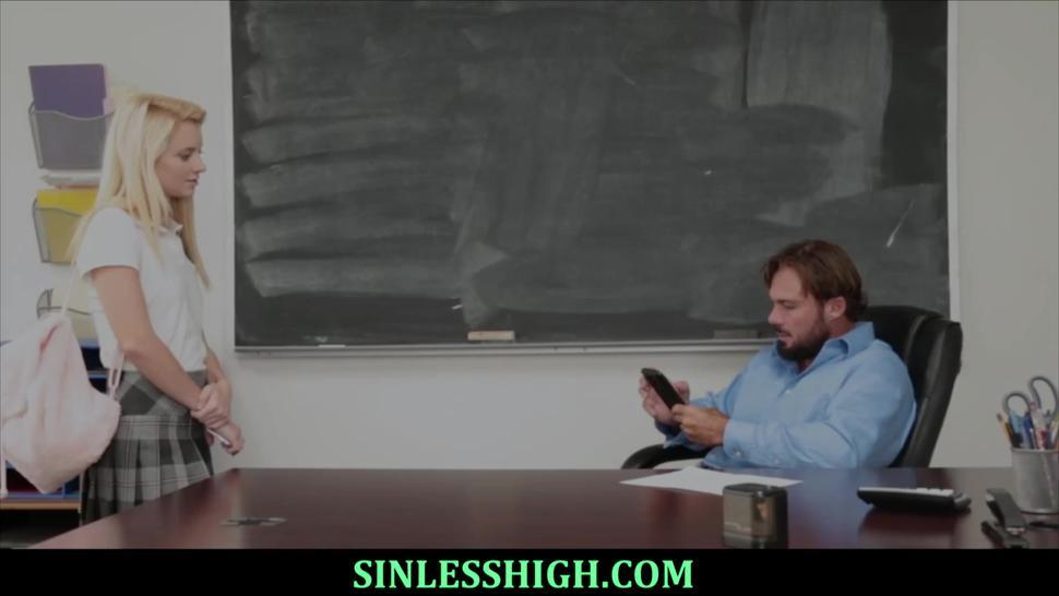 Teen blondie gets punished for bad marks with cock