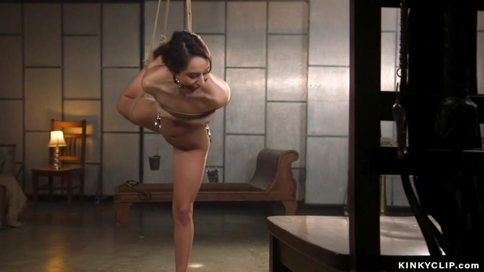 Bound brunette whipped and anal banged