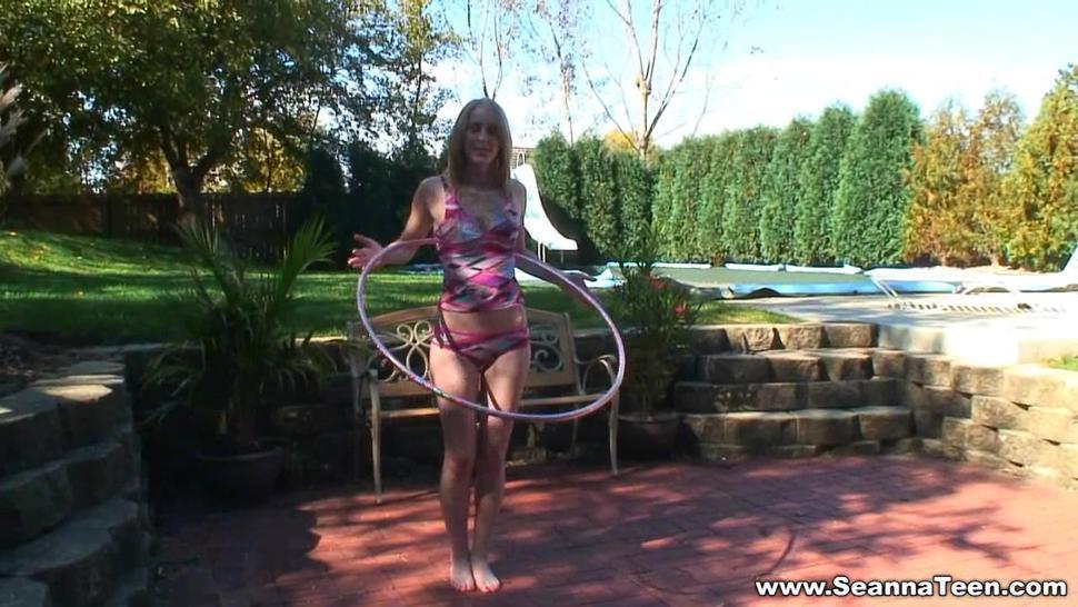 seanna hoola hoop tease in bra and panties