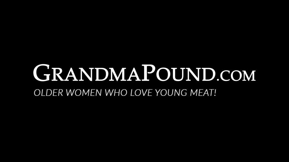 GRANDMA POUND - Slutty grandma can't get enough young dick while riding it
