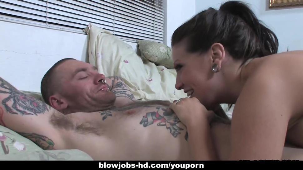 Horny brunette slut slurps her lover's fat throbbing dick
