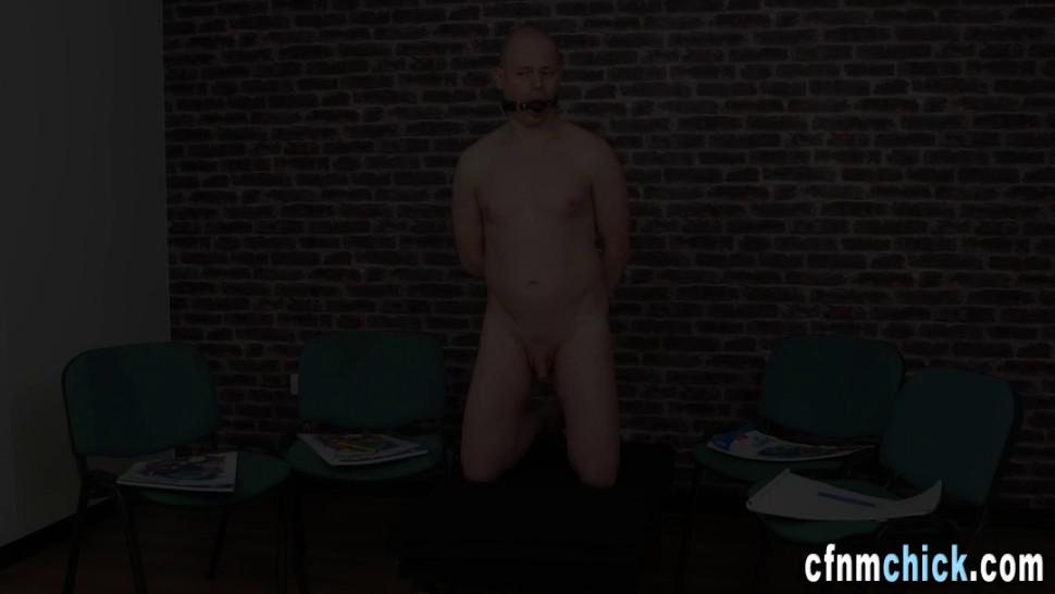 Kinky cfnm group tug naked slave
