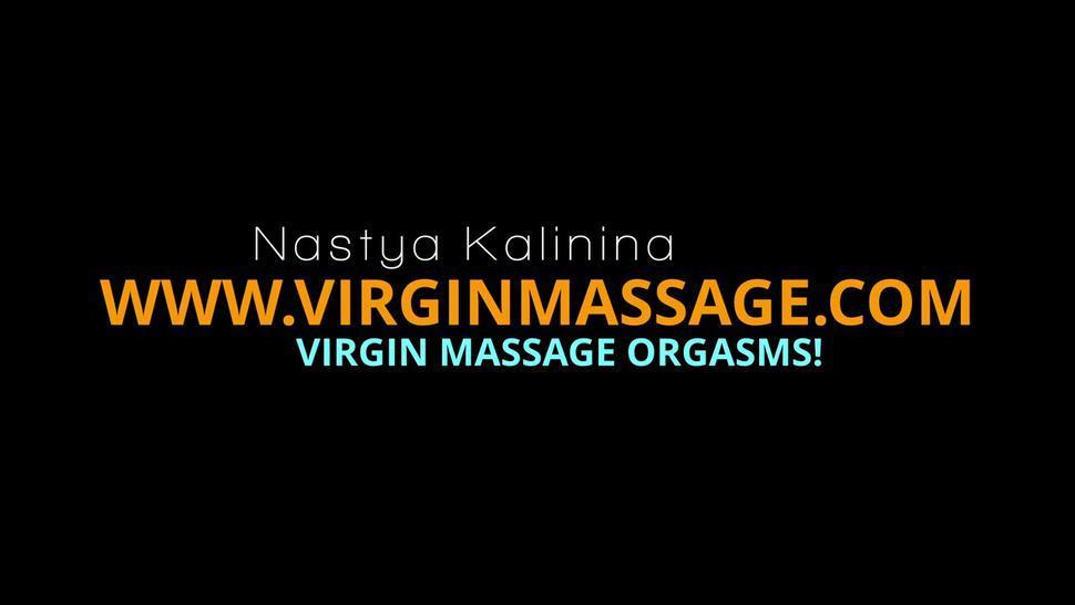 Russian first time girl Nastya massaged