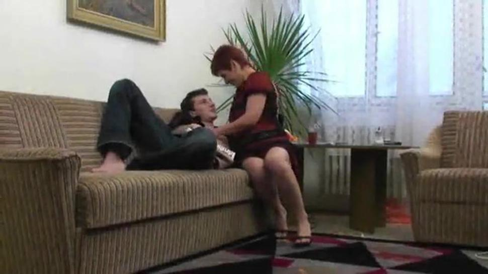 Redhead Mother Gets A Stiff One In Her Mature Pooper