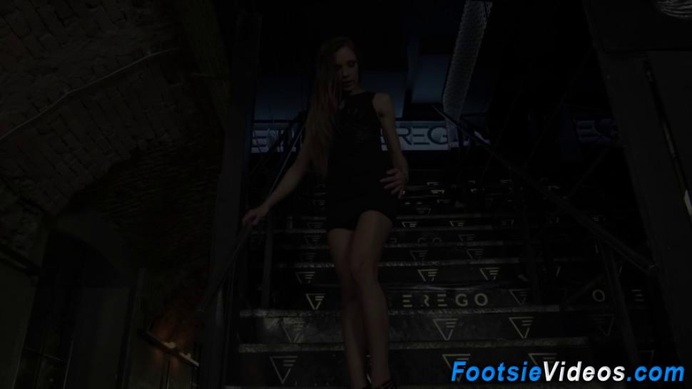 Foot job babe gets rim job and gets anal
