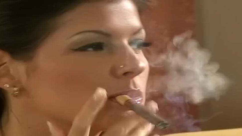 Beautiful brunette girl smoking tipped cigar while smoking & fucking