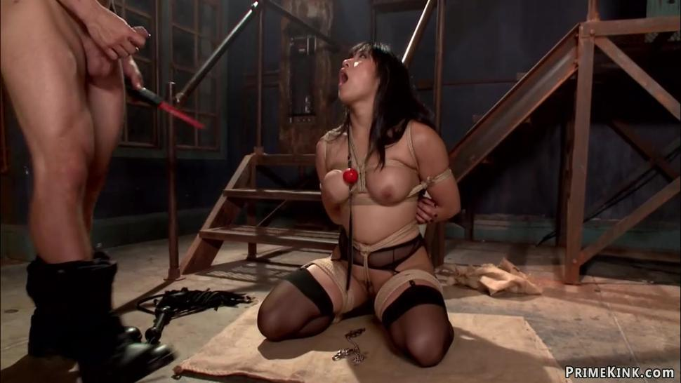 Bound big tits Asian anal fucked