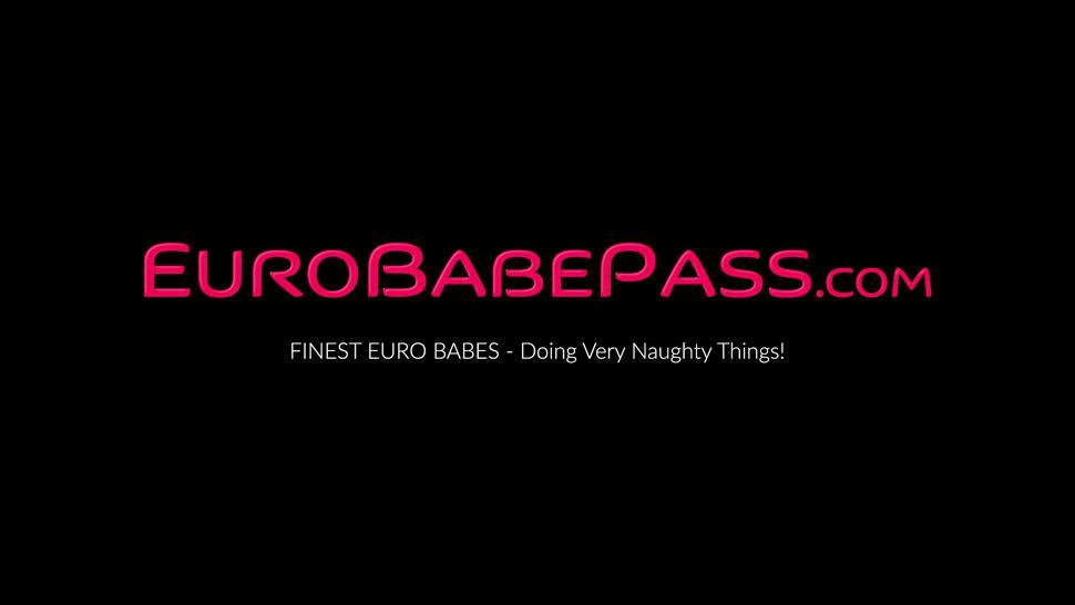 EURO BABE PASS - Big natural tits babe Kiere moans while teasing herself