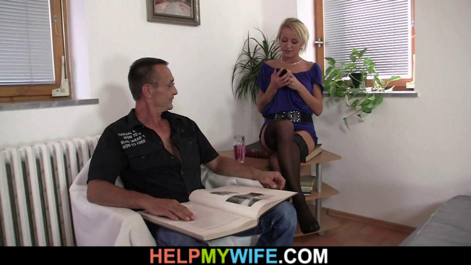 HELP MY WIFE - Young guy doggy-fucks his hot blonde wife for money