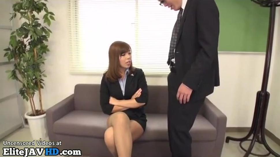 Oriental busty Milf in stockings plays with shy guy