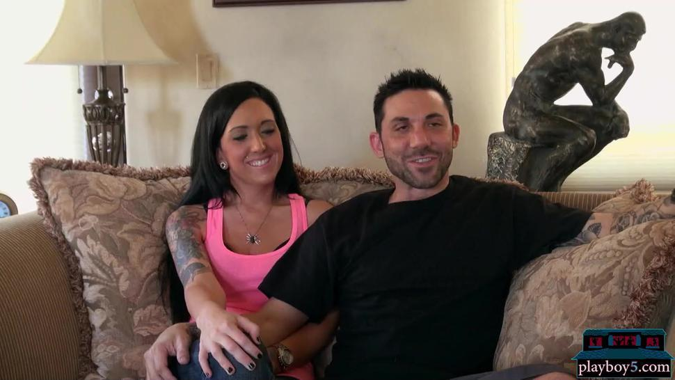 Amateur American couple making a porno video with a professional crew