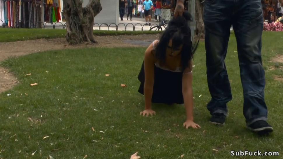 Masked babe fucked in public