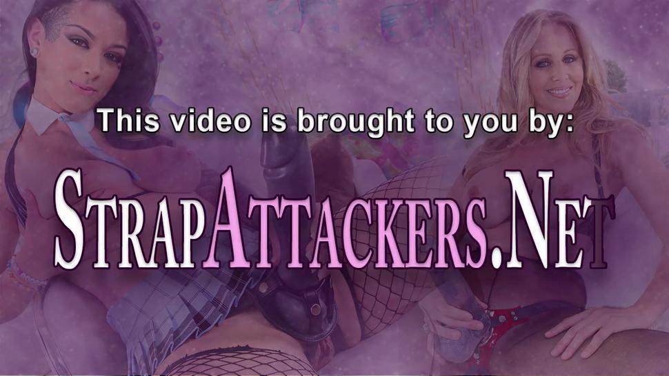 STRAP ATTACKERS - Strapon fucking domina babe feeds cum