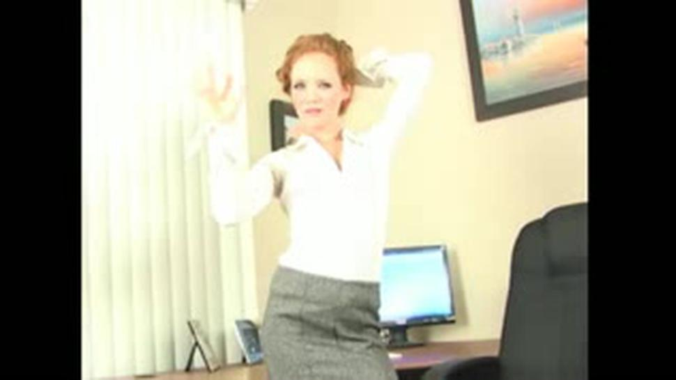 Redhead Secretary Doing Striptease And Masturbation - Heather Carolin