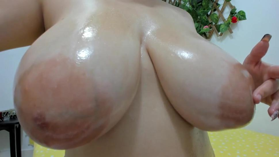 Huge puffy nipples and huge breasts close up
