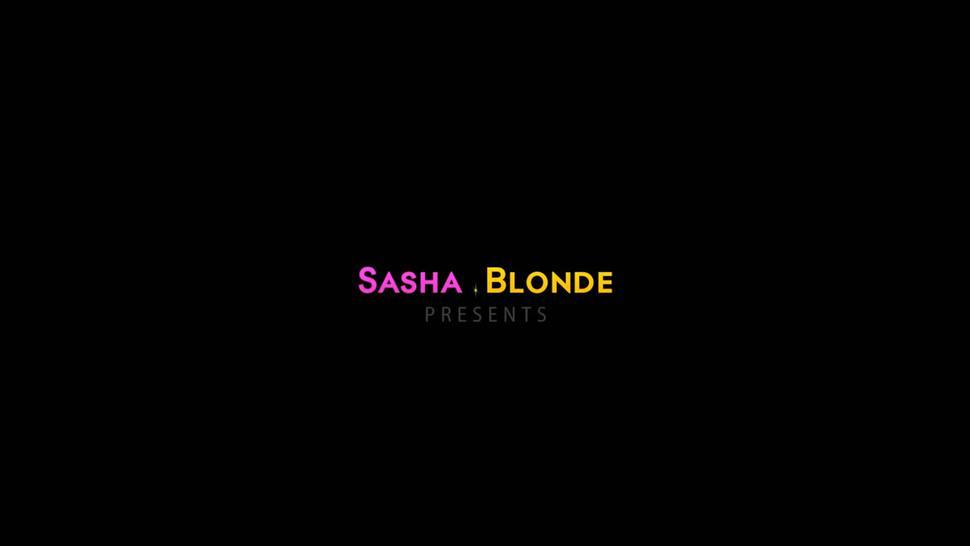 sasha blonde is masturbating on her hunks