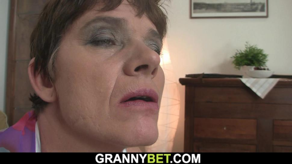 GRANNYBET - 60 years old granny in stockings rides his big dick