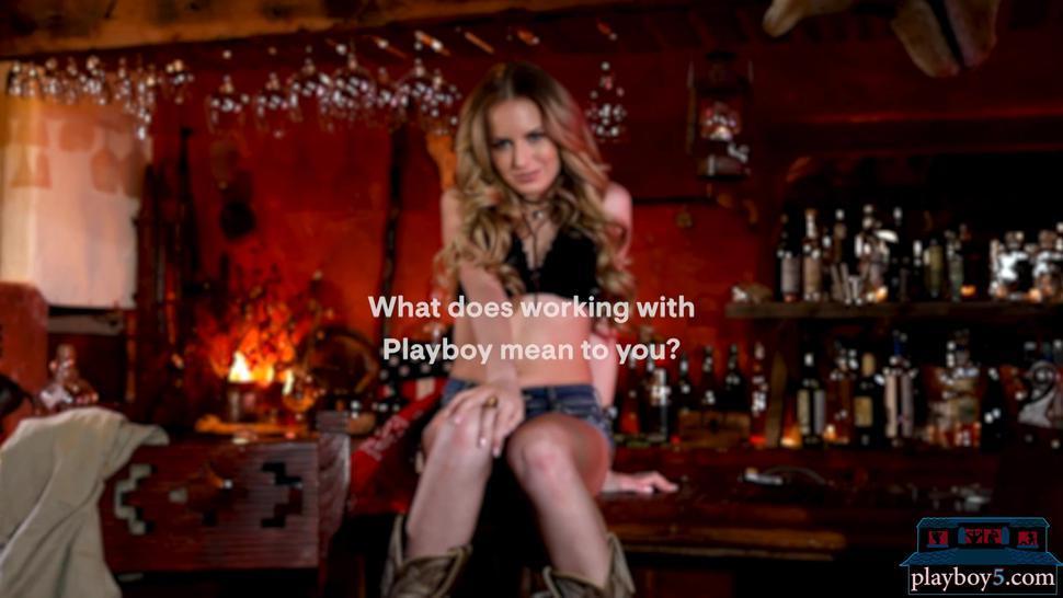 Petite teen model Scarlett Sage solo striptease for Playboy in a bar