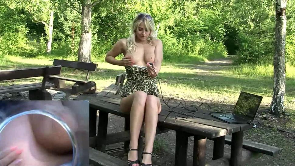 Russian blonde babe webcam outdoor fun