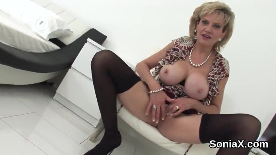 Adulterous english mature lady sonia reveals her massive puppies