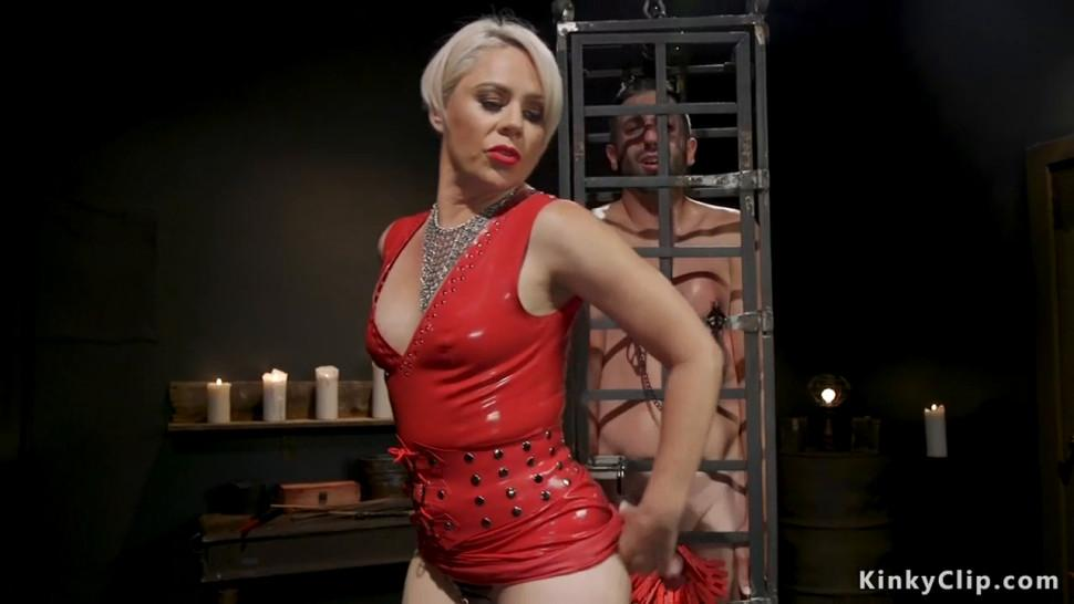 Milf dominatrix rides face to male sub