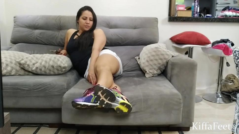 sweaty foot worship after gym - SMELLY FEET SMELL - DOMINATION - FOOT SLAP- POV - Episode 1