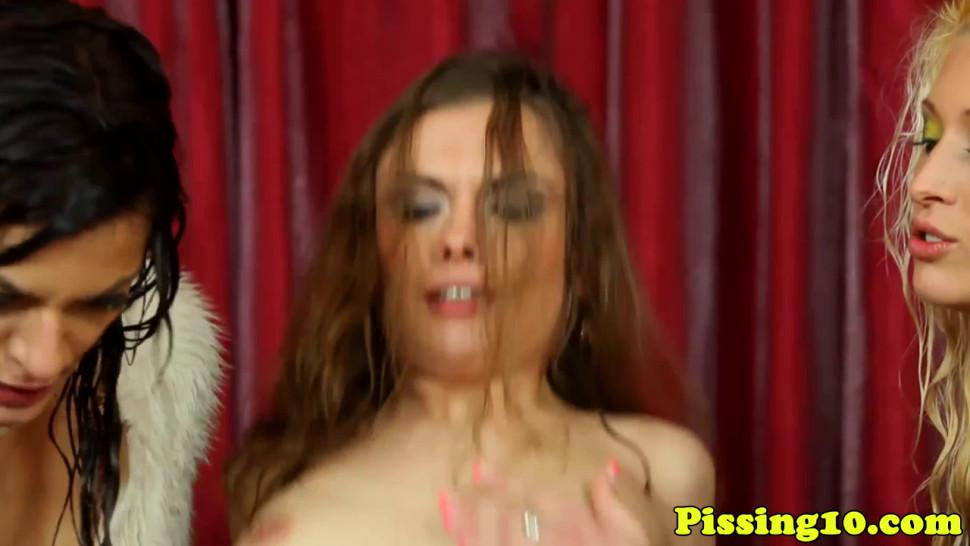 PISSING IN ACTION - Bizarre pee fetish bitches in pee orgy
