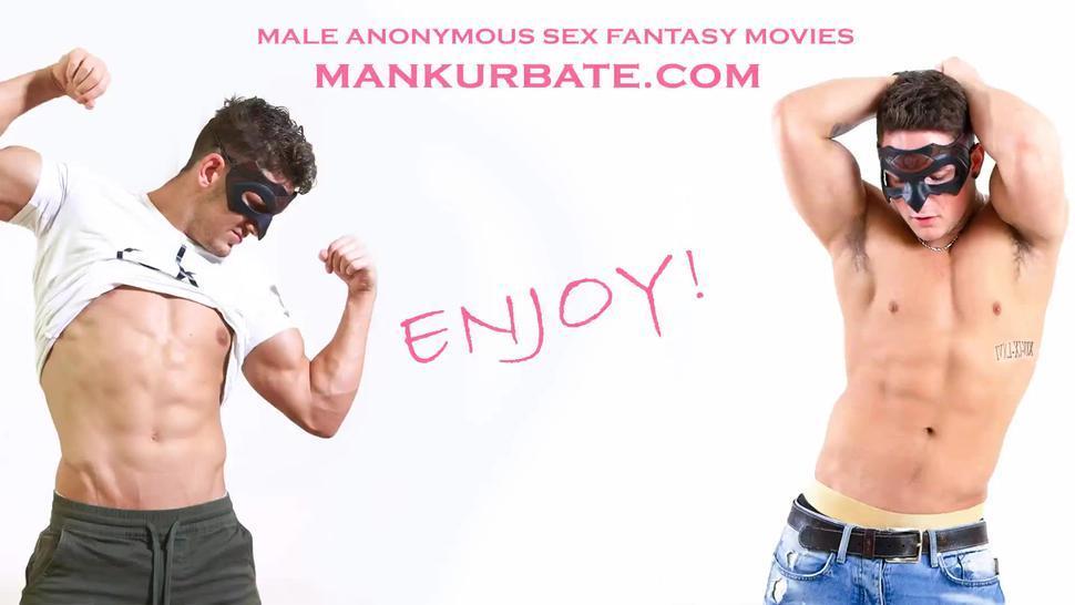 Muscular blonde gay posing and masturbating