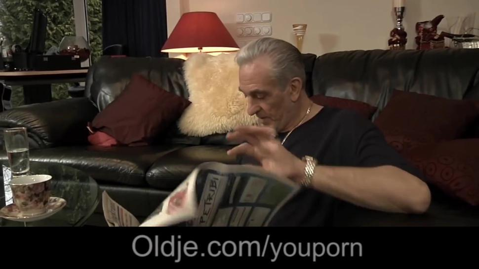 Old perv visit old fellow and gets to screw his girl anal