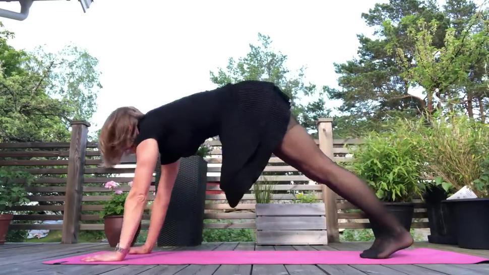 yoga with stocking feet