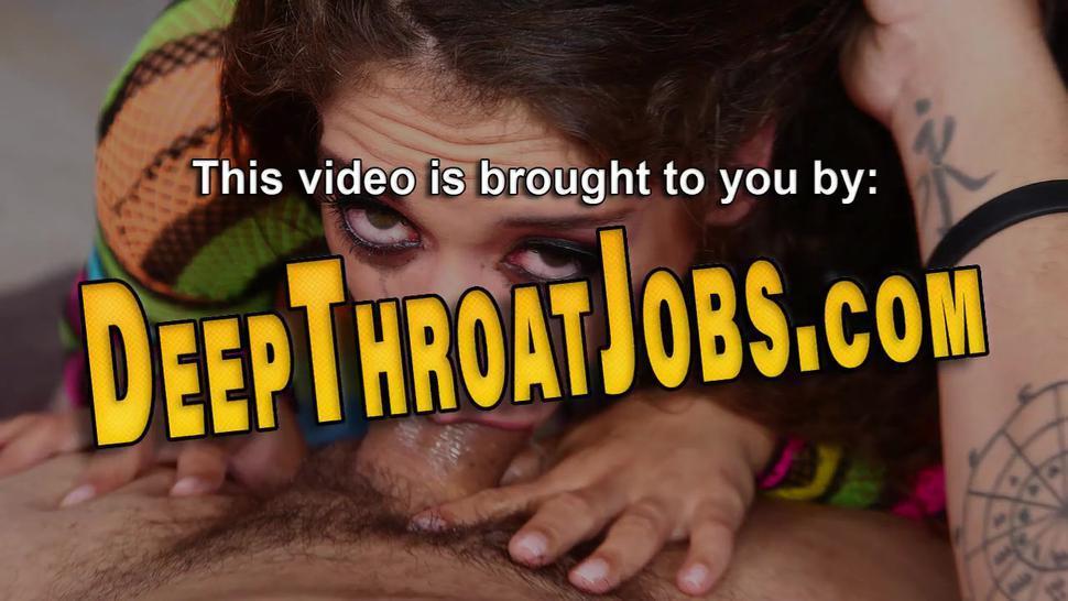 Latina teen throating and jerking long shlong