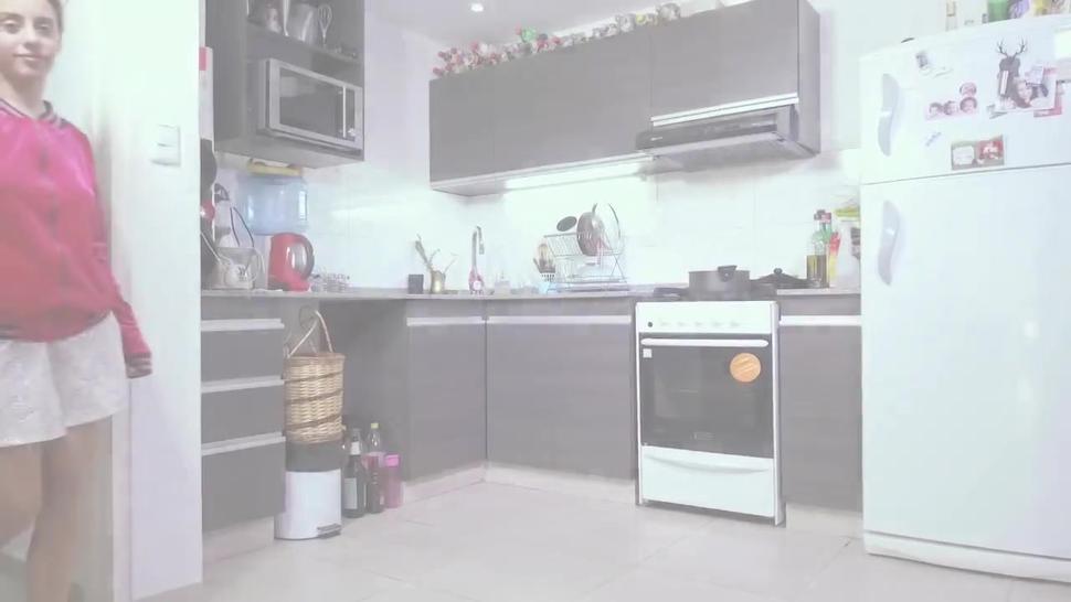 Lula strips naked in her kitchen to masturbate