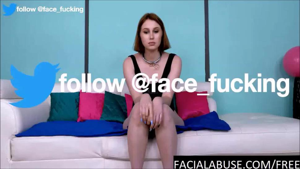 Brutal throat fucking for anal debutant cutie at Facialabuse