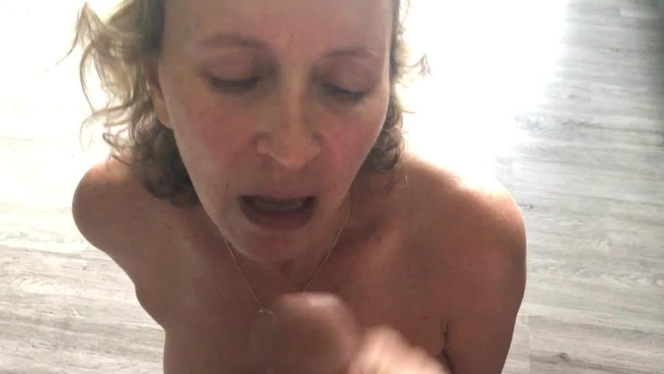 Wife cums loudly as I cum on her face, hair and boobs